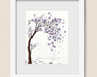 Purple Decor Watercolor Tree Art Print Poster, Abstract Tree Wall Art, Love Birds, Circles Modern Wall Decor 8 x 10 (119)