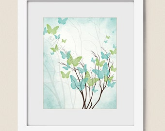 Aqua Blue Green Wall Art Girls Room Wall Decor 8 x 10 Print, Butterfly Wall Art for Girls Butterfly Decor, Butterfly Art  (429)