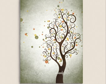 Watercolor Art Autumn Tree Print, Modern Wall Decor, Abstract Tree Art, Natural Colors Earthtones Fall Nature Print 5 x 7 (52)