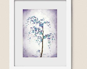 Purple Aqua Wall Art Tree Print 5 x 7 Home Decor, Willow Tree Wall Decor Nature Art Print (113)