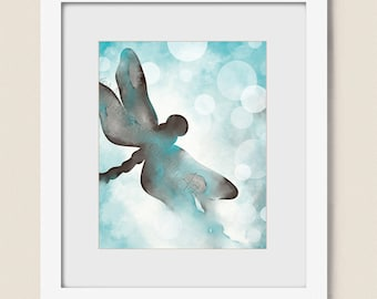 16 x 20 Turquoise Blue Dragonfly Wall Art, Blue and Brown Art Dragonfly Print, Aqua Blue Wall Decor Dragonfly Art (24)