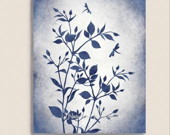 Dark Blue Libelle Wand-Kunstdruck 8 x 10, Aquarell botanische Kunst Natur inspirierten Wohnkultur (218)
