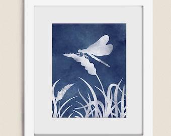 Dragonfly Art Print, 11 x 14 Dark Blue Home Decor Living Room Art, Dragonfly Wall Art Bedroom Wall Decor (8)