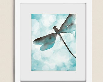 Brown and Blue Wall Decor Dragonfly Art, Blue Aqua Wall Art, 11 x 14 Dragonfly Wall Art Print, Watercolor Dragonfly Print  (300)