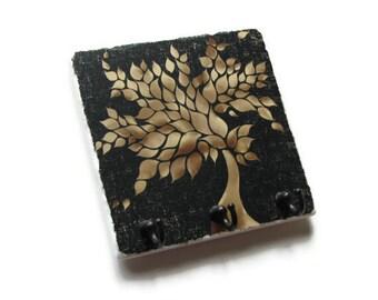 Tan Tree Wall Decor Key Hook, Black Key Holder, Decorative Tile Key Rack, Jewelry Organizer, Nature Art (37)