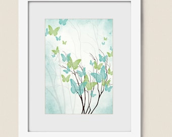 5 x 7  Green and Blue Decor for Girls Room, Butterflies for Wall, Aqua Blue Wall Decor, Butterfly Tree Art, Butterfly Wall Art (231)