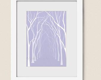 Forest Tree Wall Art Print 5 x 7, Lavendar Home Decor, Living Room Bathroom Wall Decor (112)