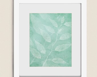 Teal Wall Art Nature Print 11 x 14, Leaf Art Botanical Wall Decor, Blue Green Home Decor (125)