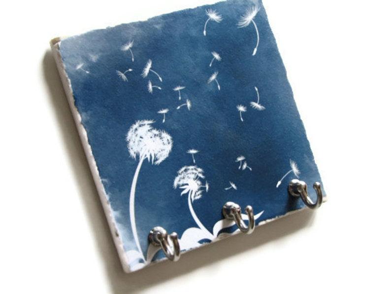 Blue Dandelion Art Key Hook Hanger Decorative Tile Key Rack Etsy