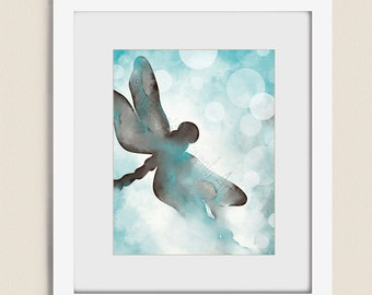 Brown and Blue Wall Decor Dragonfly Art, Blue Aqua Wall Art, 11 x 14 Dragonfly Wall Art Print, Watercolor Dragonfly Print  (301)