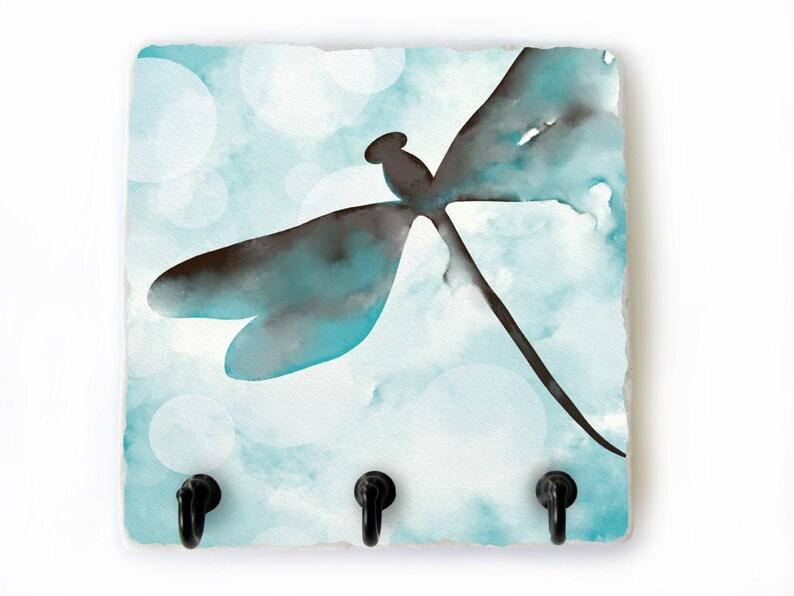 Dragonfly Key Hook Decorative Tile Aqua Blue Key Rack Etsy