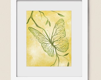 8 x 10 Butterfly Wall Decor Abstract Tree Wall Art Print, Green Yellow Bedroom Art, Tree Branches Butterfly Print   (379)