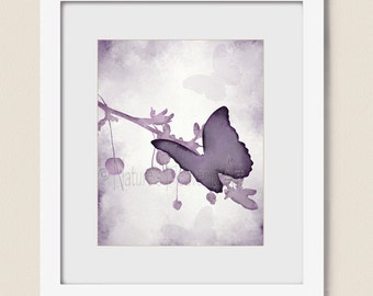 Lavendar Wall Decor Butterfly Wall Art 8 x 10 Print, Purple Girls Room Art Print, Home Decor, Butterfly Art, Purple Decor (394)