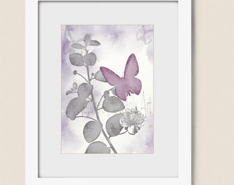 5 x 7 Print, Pink and Gray Girls Room Art, Butterfly Wall Art Print, Gray and Pink Room Decor, Butterfly Art Print (246)