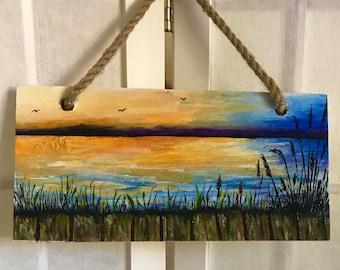Hand Painted Seascape, Night Sky Seascape, Original Artwork, Beach Night Art, Seaside Painting, Ocean Waves, Seagrass, Wooden Pier