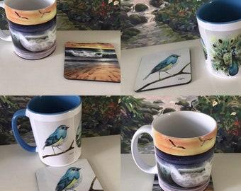 Artwork Mugs, 12oz. Coffee Mug, Beach Coffee Mug, Julie's Art Mug, Original Art Coffee Mug, Mug & Coaster Set, Bird Art Coaster, Peacock Mug