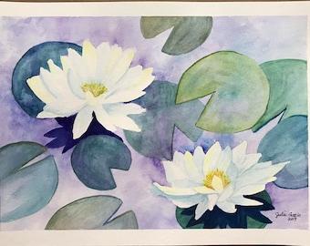 Original Watercolor Lily Pads, Lily Pads Art, Lily Pads, 9 x 12 Watercolor Lily Pad, Watercolor Artwork, Tree Watercolor