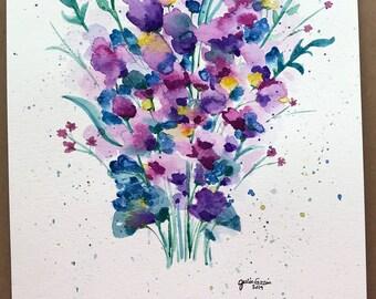 Original Flower Bouquet, Colorful Flowers, Watercolor Flowers, Watercolor Bouquet, Original Artwork