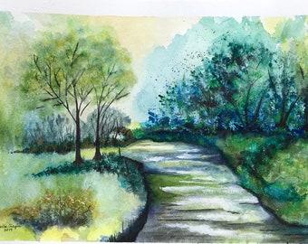 River Watercolor, Original Art Watercolor, Woods Scene Painting, Aqua River Scene, Blue River Scene, Watercolor River Art, River and Woods
