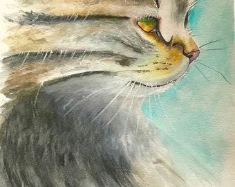 Kitten Watercolor, Original Kitty Watercolor, 9 x 12 Original Watercolor, Kitty Painting, Cat Watercolor, Kitty Cat Painting