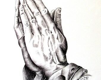 Praying Hands Art Print, Artwork, Pencil Drawing, Prayerfully, Praying Hands, Sympathy Card, Art Card