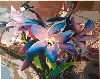 Blue Flower, Blue Flower Painting, Blue & Pink Flower, Blue Flower Art, Blue Flower Artwork