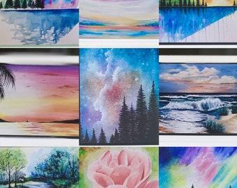 Art Greeting Cards, Night Sky Card, Abstract Art Card, Blank Art Greeting Card, Rose Art Card, Water Art Card, Seascape Art Card