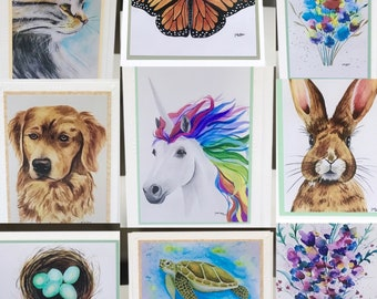 Art Greeting Cards, Floral Card, Kitten Art Card, Blank Art Greeting Card, Dog Art Card, Sea Turtle Art Card, Butterfly Art Card, Unicorn