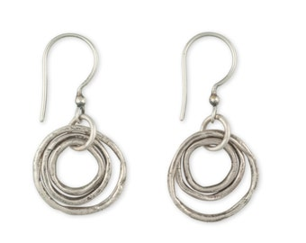 Silver Hoop Earrings - Artisan Earrings - Oxidized Silver Earrings - Sterling Drop Earrings - Joy Earrings (ES/EB-CLMS)