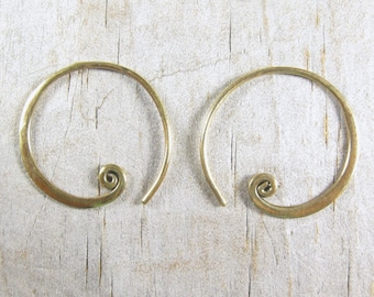 Spiral Hoop Earrings - Bronze Earrings - Small Hoop - Gold Hoops SALE