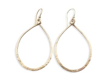 Bronze Hoop Earrings - Teardrop Hoop - Large Gold Hoop - Hammered Hoop - Women's Jewelry - Boho Chic Earrings - Bronze Ballard Hoops