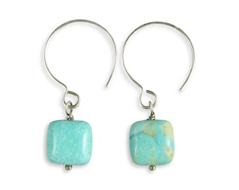 Turquoise Earrings - Stunning Blue Green American Stone - Oxidized Silver Earrings - Par it Down Turquoise Handcrafted Drops