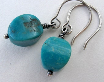 Turquoise Earrings - Green Blue Stone Earrings -  Rustic Turquoise Earrings - Oxidized Silver Earrings - Handcrafted