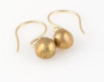 Ball Earrings -  Bronze Ball Earrings - Gold Round Earrings - Simple Gold Earrings -  Gold Sphere Earrings  - Casual Earrings - Boho Jewelry