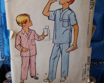 532bc2f02a 1950s McCall s 2052 boys siz 14 2 piece pajama set