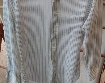 4dfcb25898f 1970s Sears Perma-Prest polyester striped shirt size 14 1 2