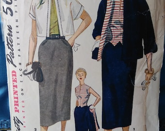 Amazing 1950s Suit Hollywood Glam Butterick 5424 Wiggle Dress  Skirt Weskit Style Size 18 - Hourglass Bust 36 DIY Retro