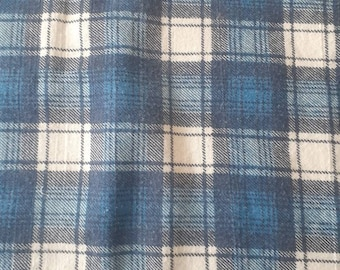 Vintage blue plaid flannel fabric  yardage