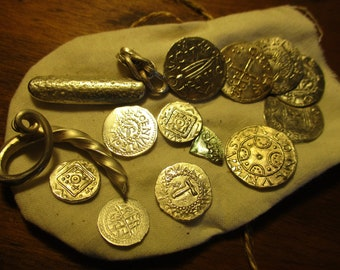 Viking hoard treasure Anglo Saxon style Bullion in a cloth Bag with 15 pieces Hacksilver coins