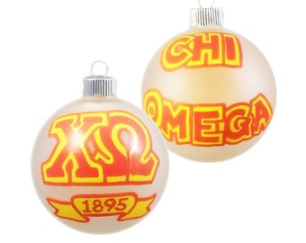 Handpainted Chi Omega Ornament