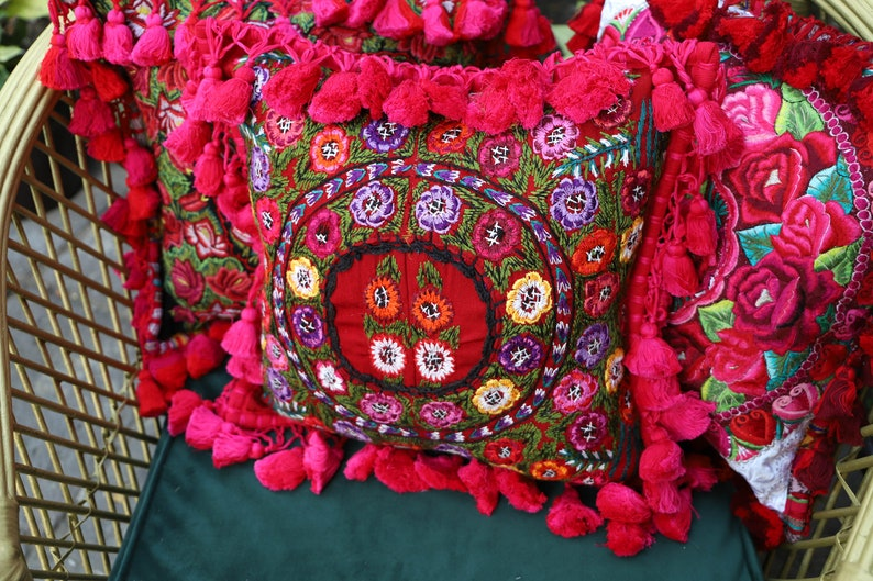 One of a kind sham made from recycled hand Woven and hand embroidered vintage  Guatemalan and Chiapas textiles