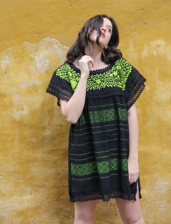 Xs to Small  Lime and Beige Two Birds de Paz hand woven and hand embroidered blouse