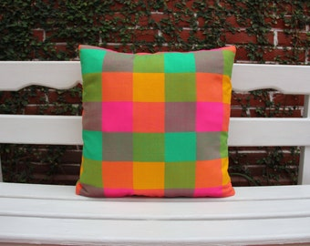 Multi colored Lime pink  Orange sham Ready to ship.