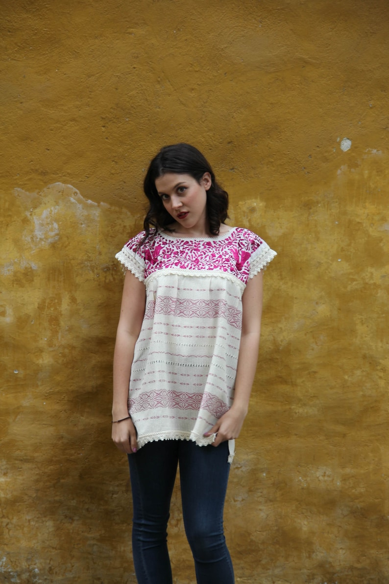Small to Medium Wine and Beige Two Birds de Paz hand woven and hand embroidered blouse