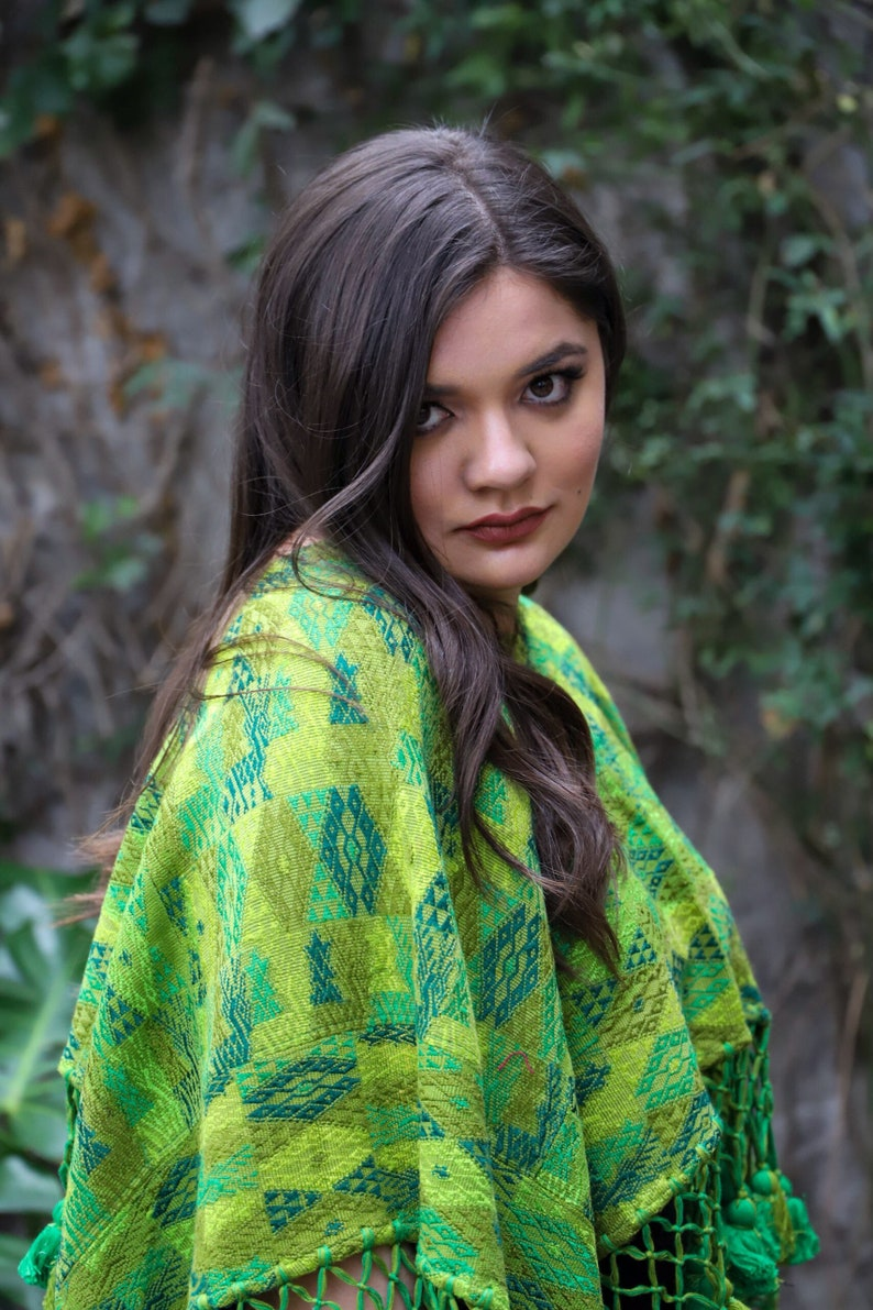 Warm Snuggly poncho huipil with gorgeous tassels all hand embroidered and hand woven