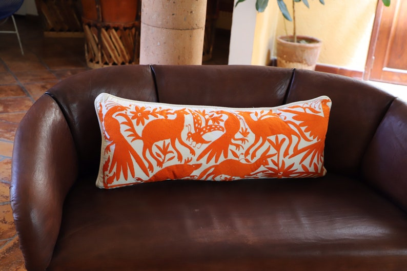 Tangerine orange Otomi Sham backed and piped with handwoven artisan rustic eco textiles
