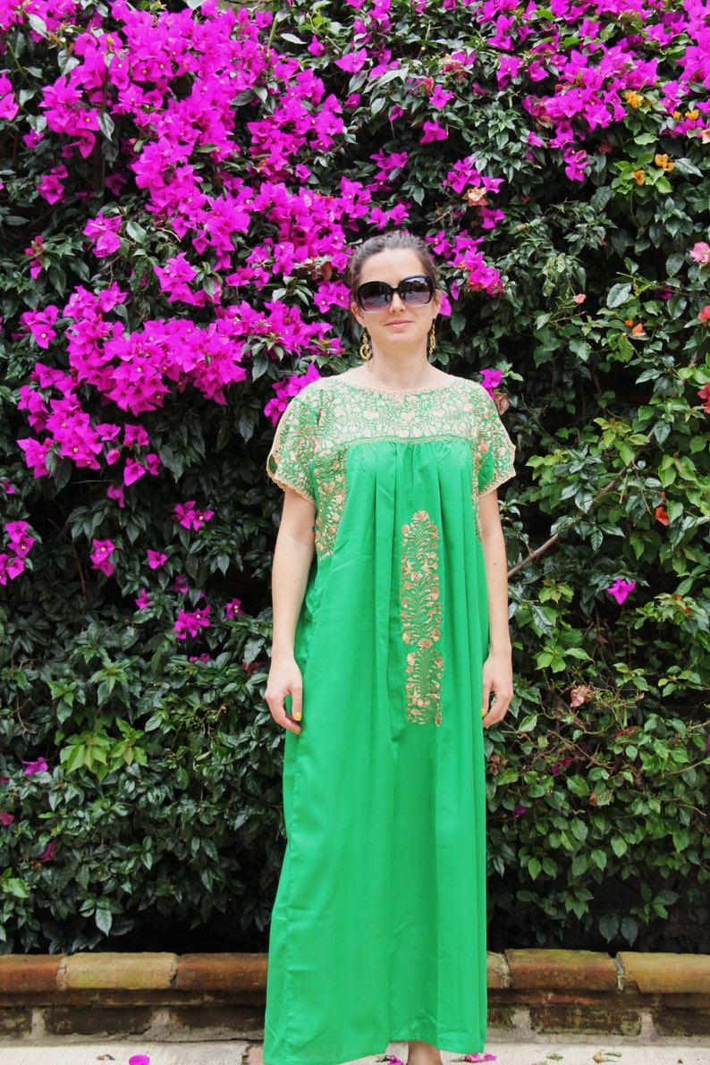 a7789bfc5af Hand Embroidered Green and Gold Mexican Wedding Dress