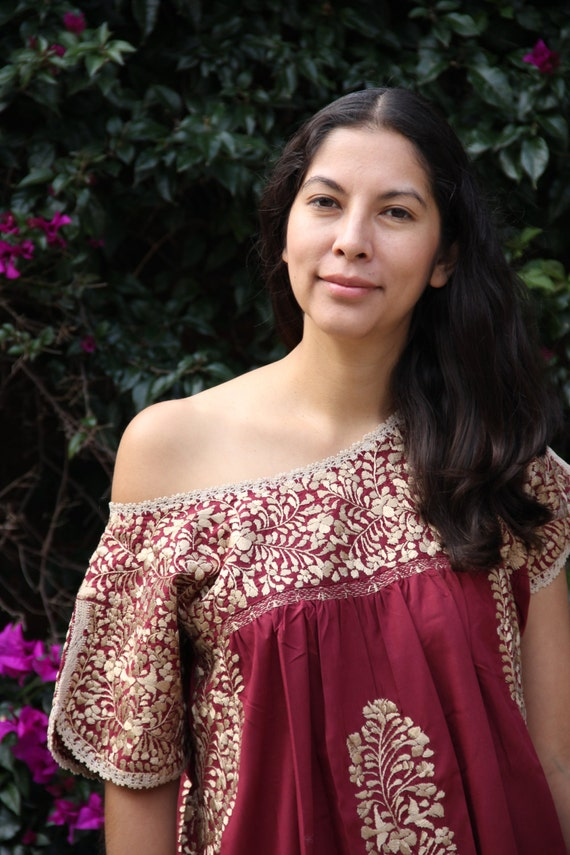 Burgandy And Antique Gold Embroidery Mexican Wedding Dress Etsy