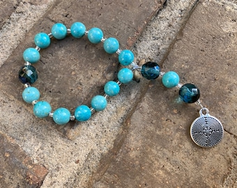 Turquoise Riverstone and Dark Aqua Fire-Polished Glass Chaplet with Labyrinth Charm