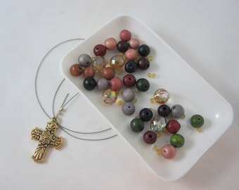 DIY Prayer Bead Kit - Multicolored Wood and Amber Fire-Polished Glass